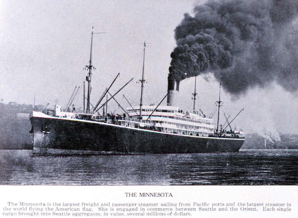 'The MINNESOTA'in Puget Sound.  This vessel was the largest United States merchant vessel at the time this photograph was taken. In:  'Puget Sound and Western Washington  Cities-Towns Scenery', by Robert A. Reid, Robert A. Reid Publisher, Seattle, 19