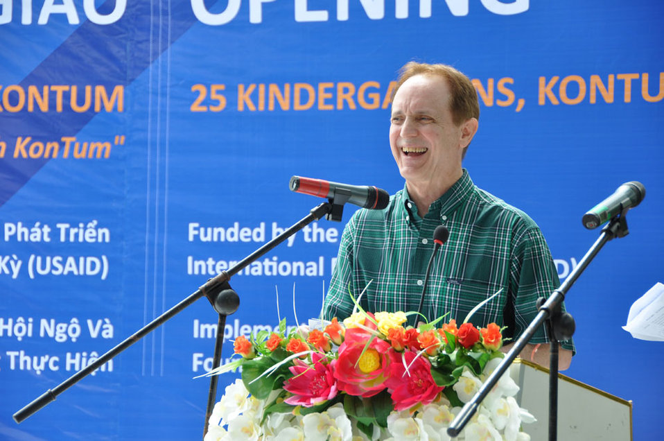 USAID Mission Director Francis Donovan addresses the kindergarten handover ceremony in June 16, 2011.