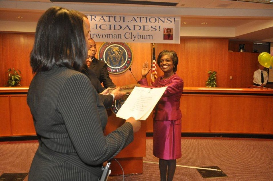Witness the historic moment, as FCC Secretary Marlene Dortch swears in Mignon Clyburn, as 1st Acting Chairwoman of FCC