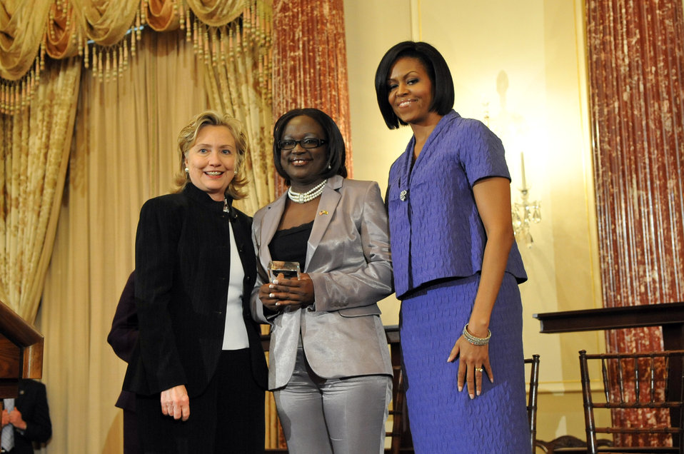 Secretary Clinton With First Lady Michelle Obama and Jestina Mukoko