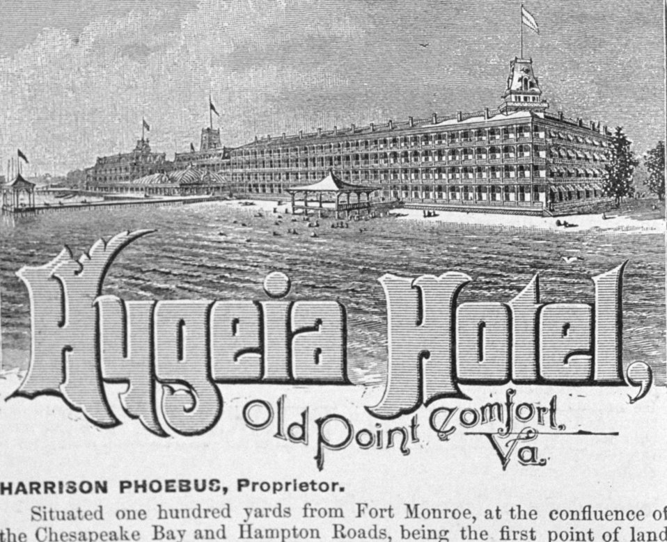 The Hygeia Hotel at Old Point Comfort, Virginia.  Advertised at the end of 'Florida for Tourists, Invalids, and Settlers' by George M. Barbour, 1881.