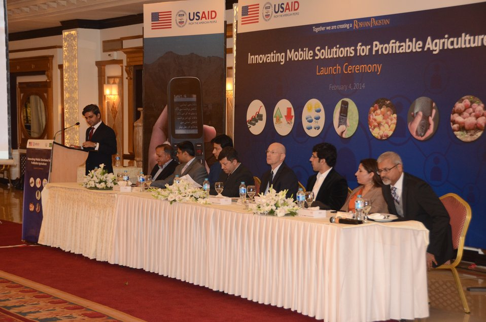 Gregory Gottlieb Mission Director USAID and Shahram Khan Tarrakai Minister for Agriculture, Livestock and Cooperation KP with other dignitaries at the launch ceremony