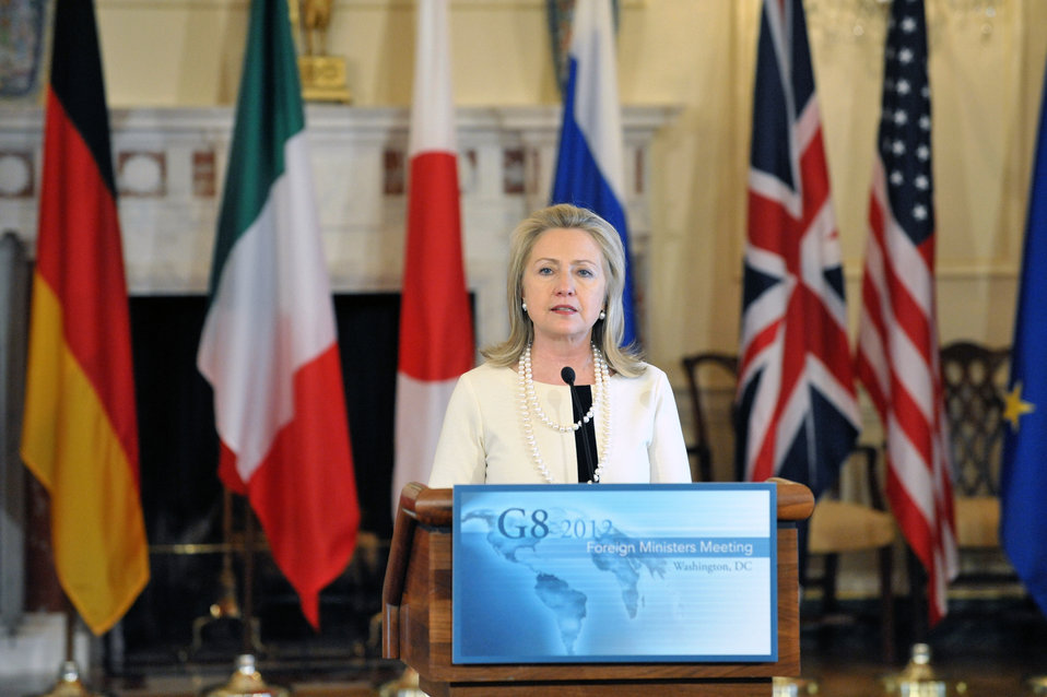 Secretary Clinton Delivers Remarks After the G8 Ministerial