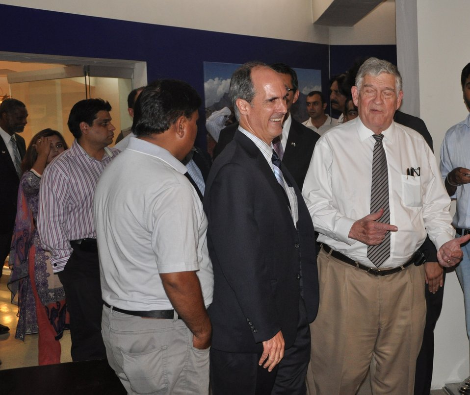 Provinicial Mission Director Ted Gehr meeting people at the exhibition