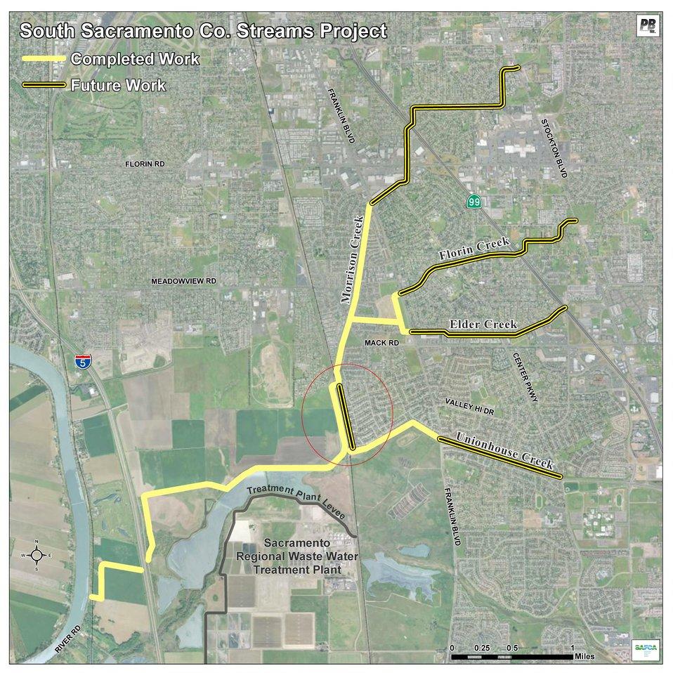 South Sacramento flood wall construction map