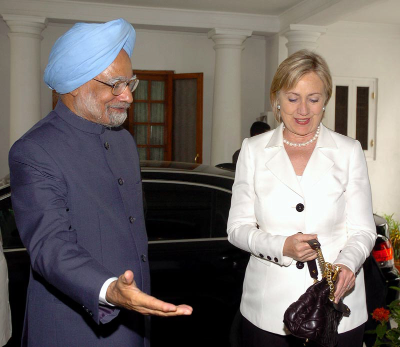 Secretary Clinton Visits Indian Prime Minister