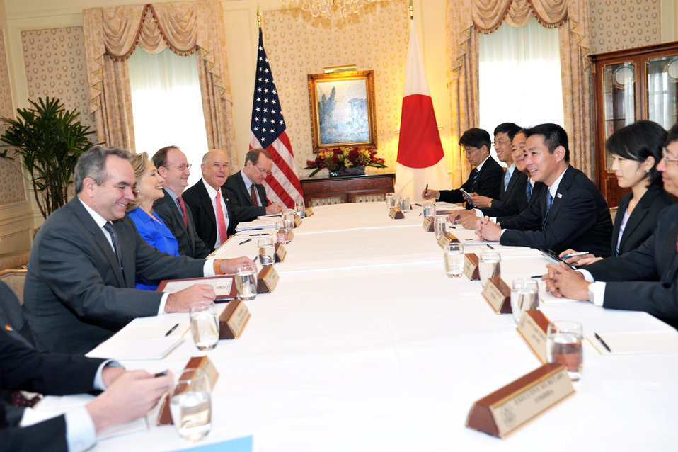 Secretary Clinton and Assistant Secretary Campbell Hold a Bilateral With Japanese Foreign Minister Maehara
