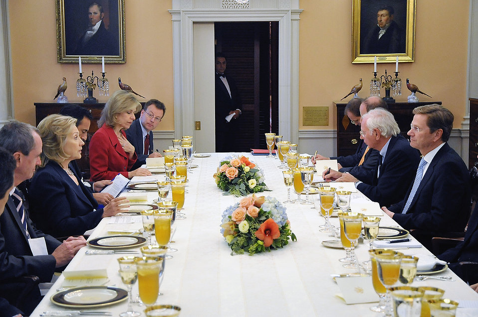 Secretary Clinton Delivers Holds a Working Lunch With German Foreign Minister Westerwelle