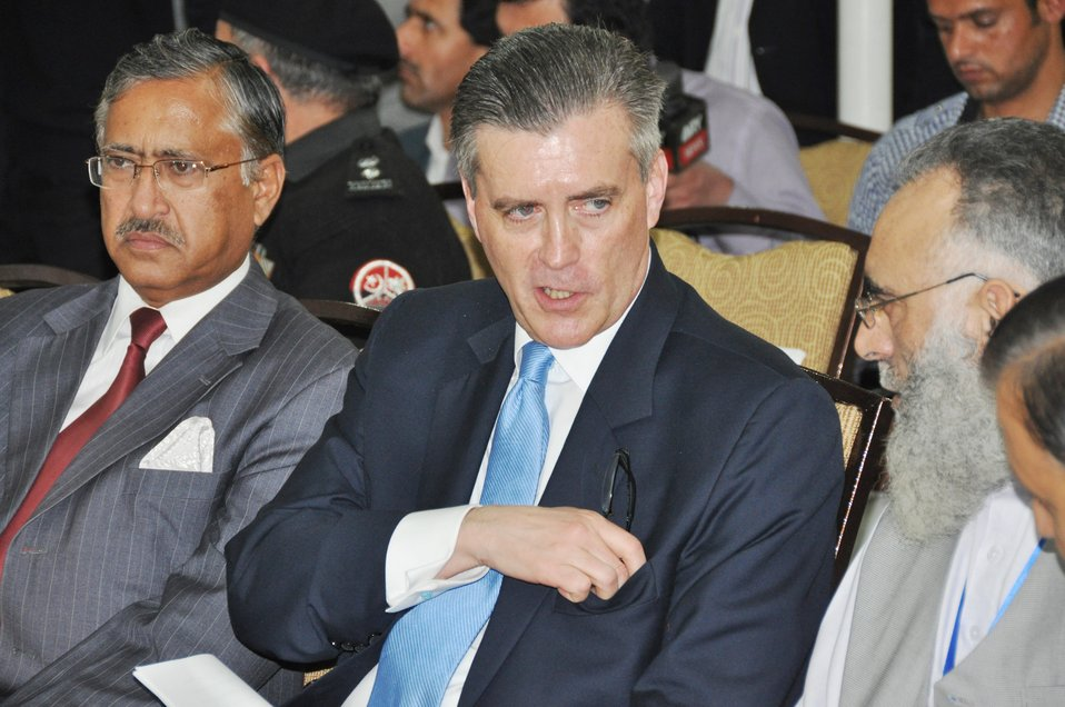 The United States Ambassador to Pakistan, Richard Olson broke ground for a U.S. funded construction of a new Faculty of Education building in Muzaffarabad, AJK.  02