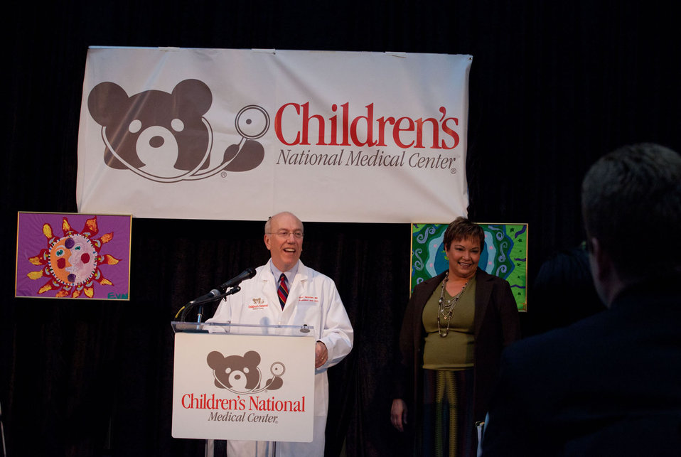 December 12, 2011 Dr. Kurt Newman, CEO, Children's Medical Center greets EPA Administrator LIsa P. Jackson
