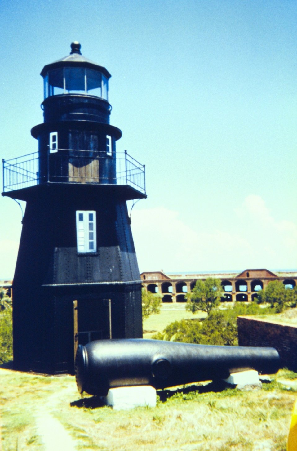 The lighthouse at Fort Jefferson with a Dahlgren cannon