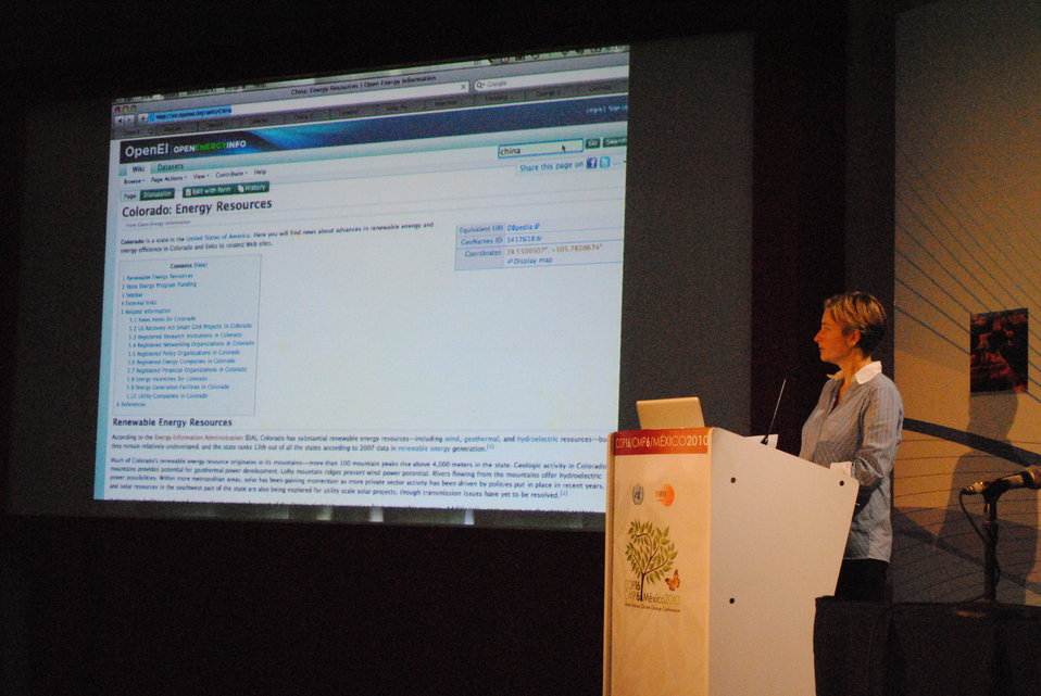 Jacqueline Cochran Showcases the Open Energy Information (OpenEI) Platform
