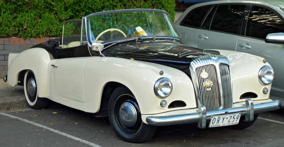 1957 Daimler Conquest (Mark II) Century drophead coupe, photographed at The Rocks, New South Wales, Australia. Note: according to VicRoads, the chassis number for this particular vehicle is 90537, and the engine number is 73961.    Chassis numbers as pe