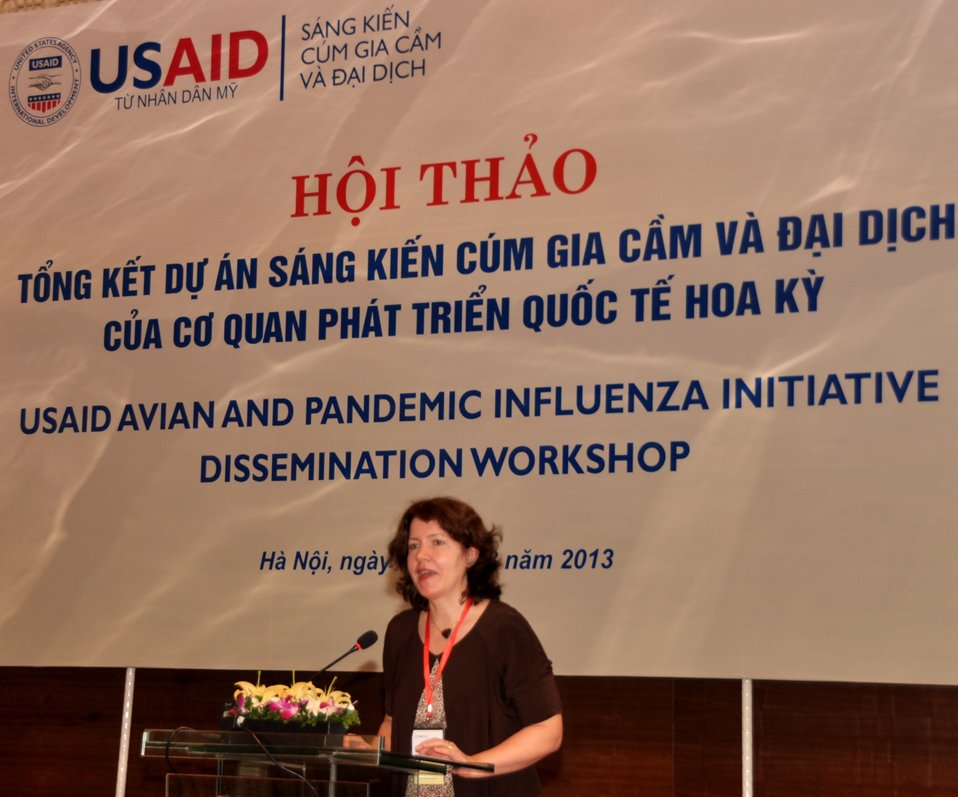 USAID Office of Health Director Laurel Fain addresses the USAID Avian and Pandemic Influenza Initiative Dissemination Workshop.