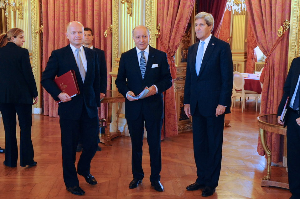 Secretary Kerry Pauses With French Foreign Minister Fabius, British Foreign Secretary Hague