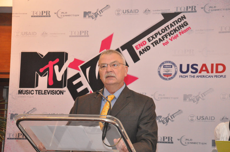 U.S. Ambassador Michael Michalak addresses the press launch of the MTV EXIT campaign in Hanoi.
