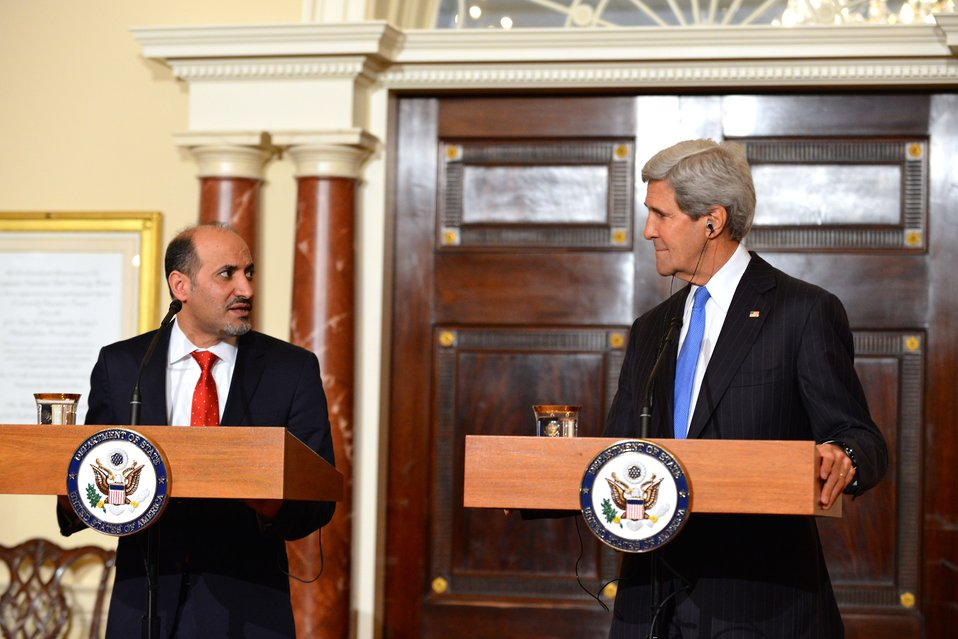 Secretary Kerry and Syrian Opposition Coalition President al-Jarba Address Reporters