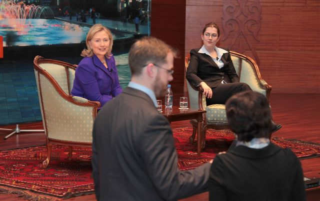Secretary Clinton Listens to an Audience Member