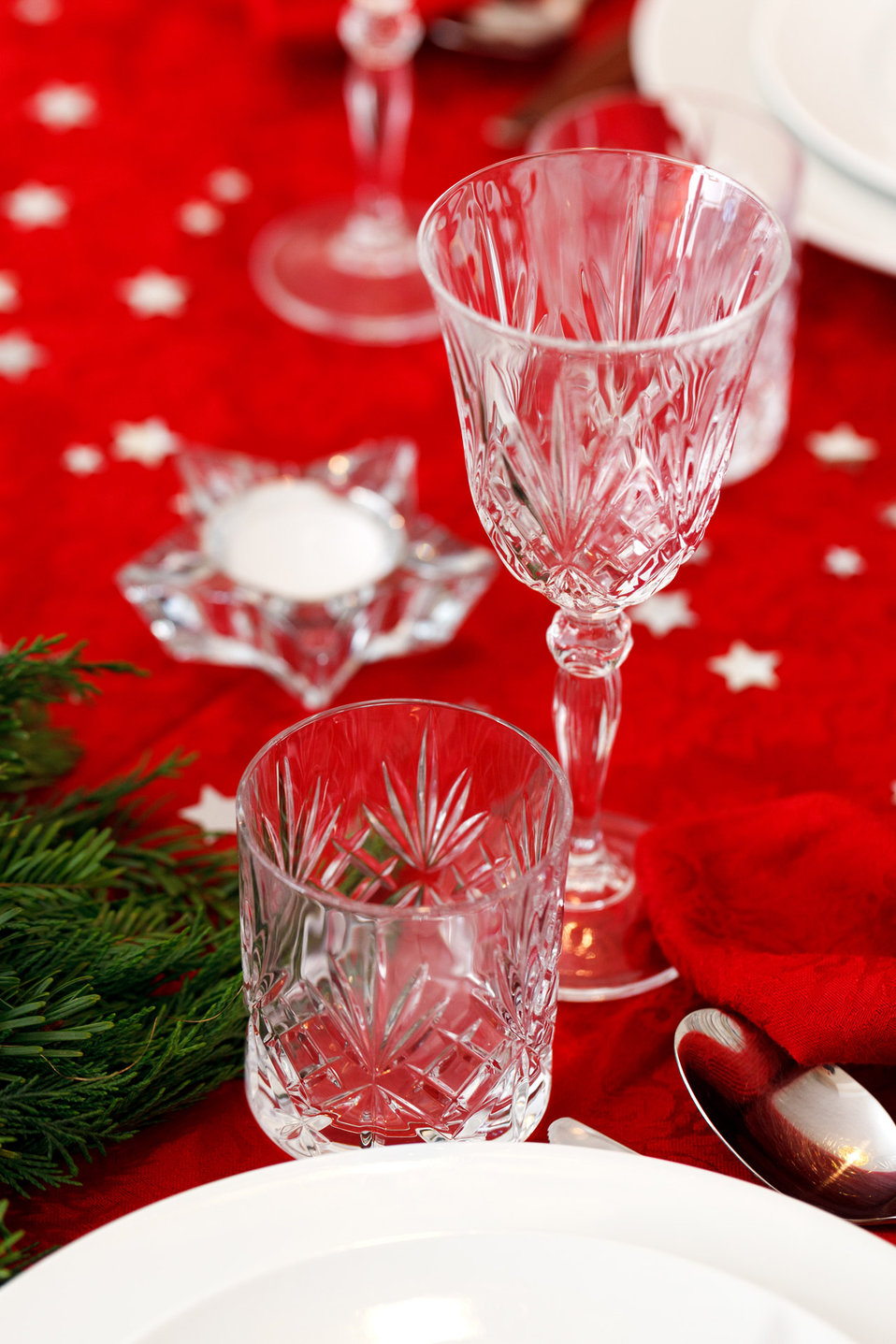 Glasses on christmas table