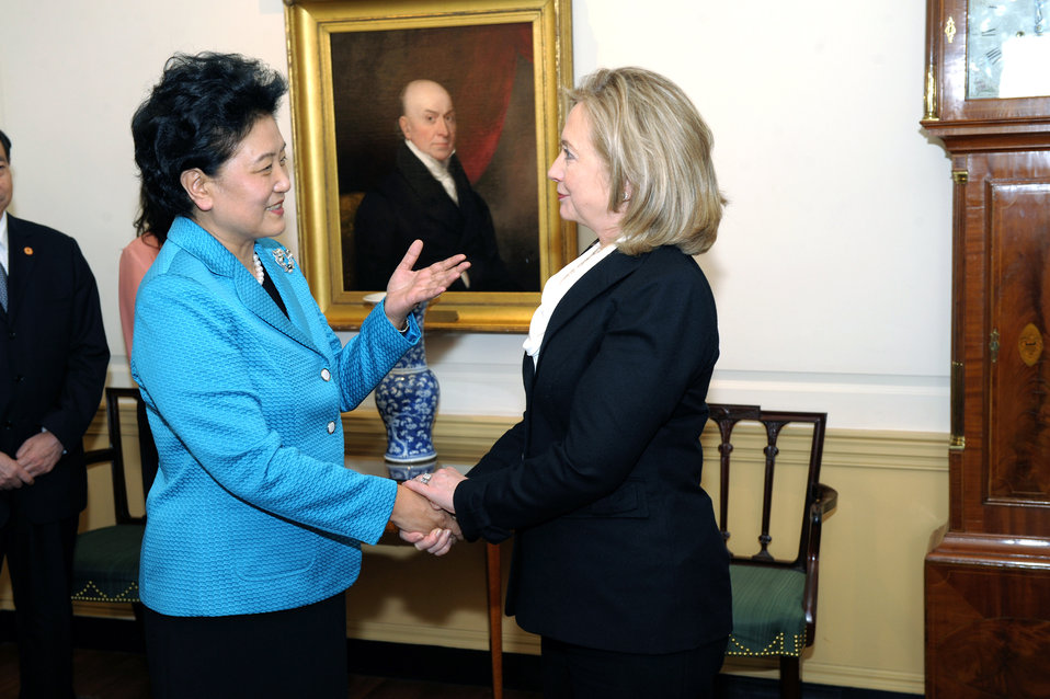 Secretary Clinton Shakes Hands With Chinese State Councilor Liu Yandong
