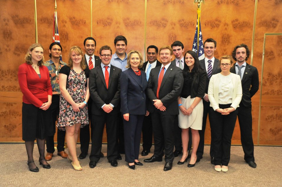 Secretary Clinton and Ambassador Huebner Pose for a Photo With New Zealand Students