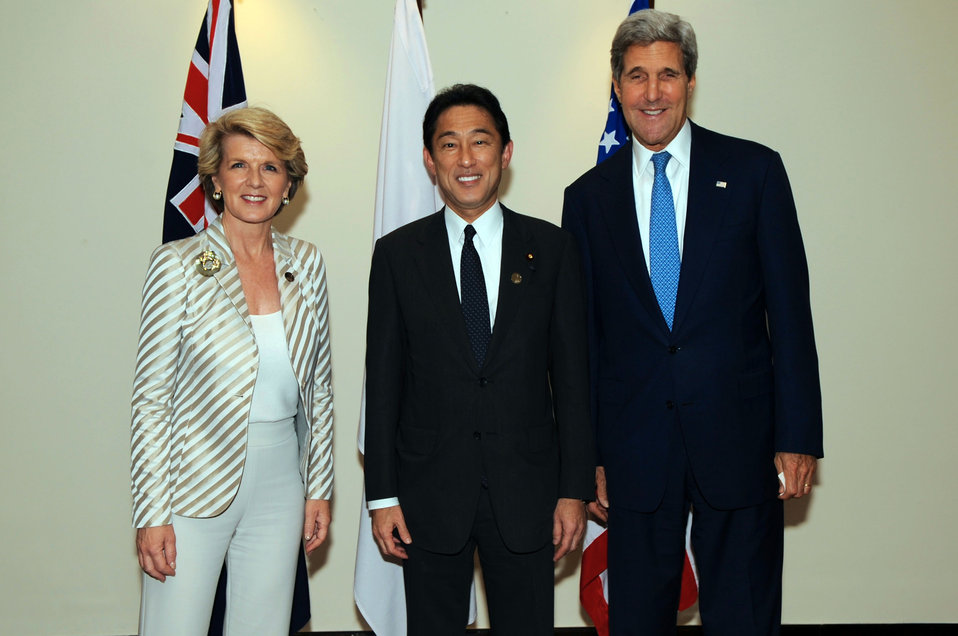Secretary Kerry With Australian and Japanese Foreign Ministers Bishop and Kishida Before the Trilateral Security Dialogue