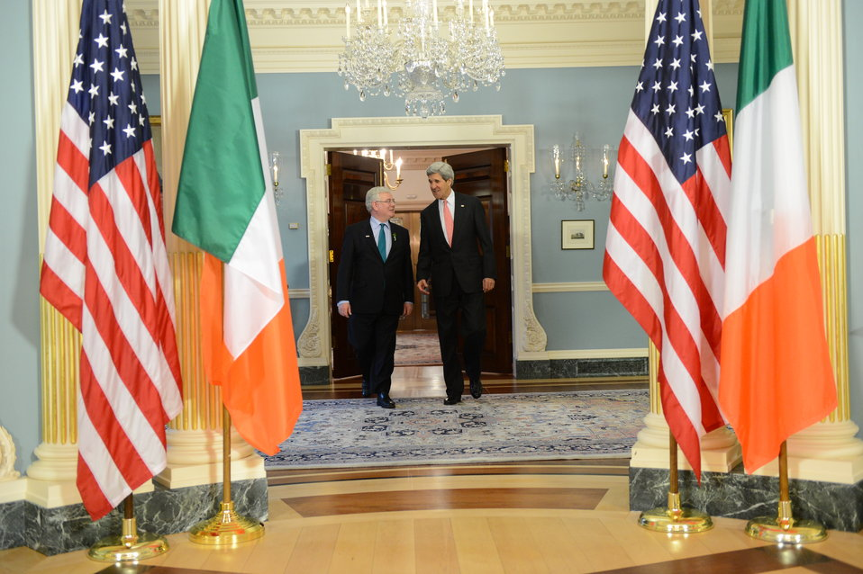 Secretary Kerry and Tánaiste Eamon Gilmore Prepare To Address Reporters