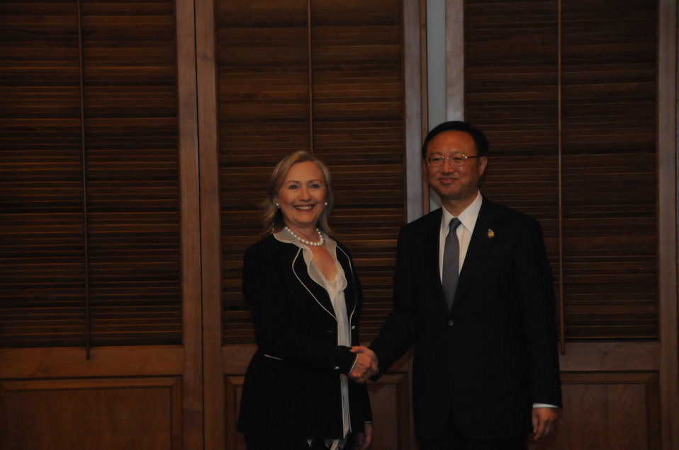 Secretary Clinton Shakes Hands With Chinese Foreign Minister Yang Jiechi