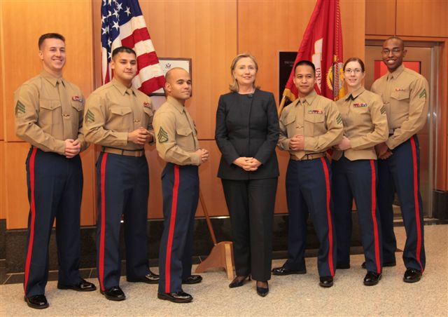 Secretary Clinton Meets With U.S. Marines