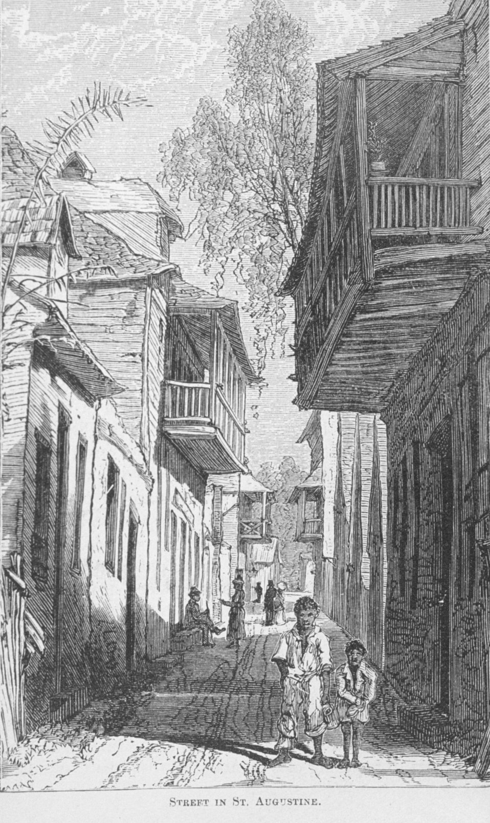 Street in St. Augustine -  in 'Florida for Tourists, Invalids, and Settlers'  by George M. Barbour, 1881.  Library Call No. F316 .B23 1881.