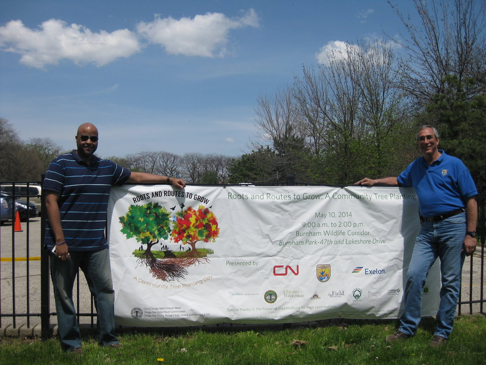 Tom Melius and Kevin Davis at Community Planting Sign