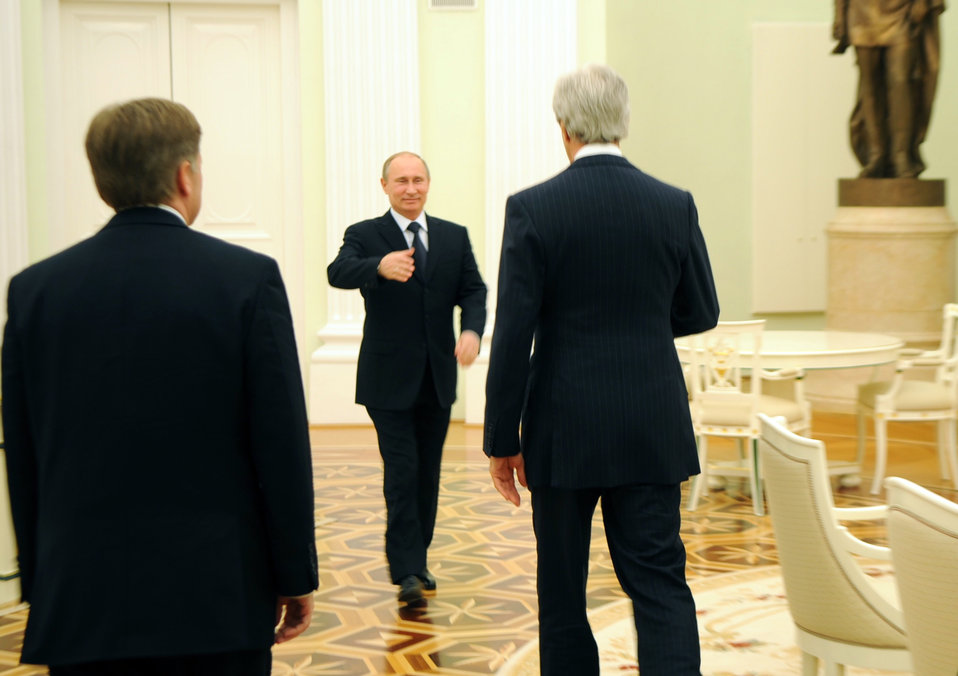 Secretary Kerry Is Greeted By Russian President Putin