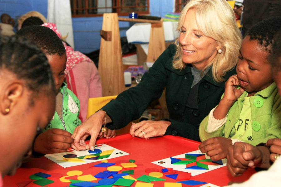 Dr. Jill Biden Plays Educational Games With South African Children