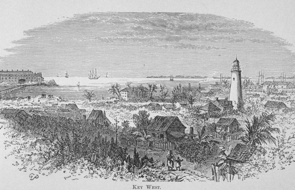 Key West -   in 'Florida for Tourists, Invalids, and Settlers'  by George M. Barbour, 1881.  Library Call No. F316 .B23 1881. A view of the lighthouse as well as the old town Key West.