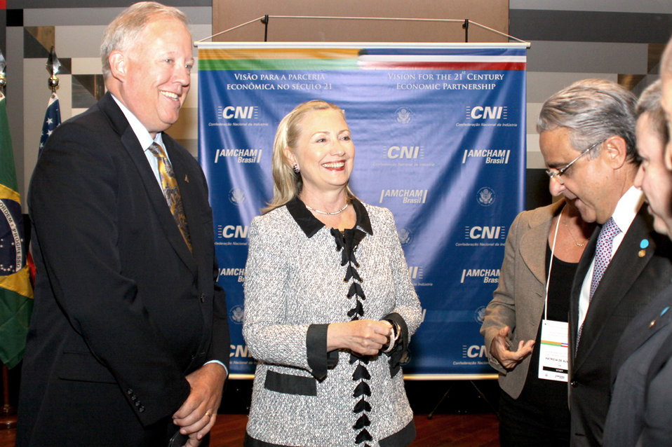 Secretary Clinton and Ambassador Shannon Speak With Members of the Brazilian Business Community