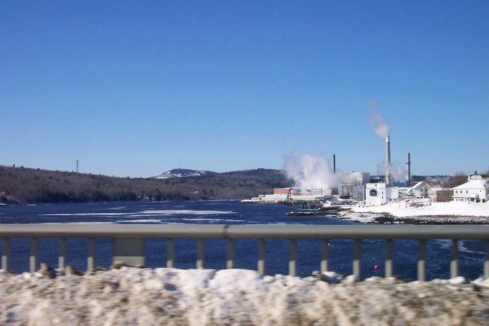 The paper mill at Bucksport from the Bucksport-Verona Bridge.