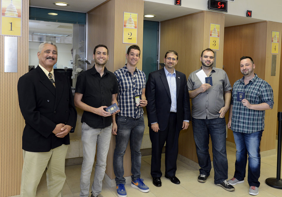 Ambassador Shapiro and Consul General Mire Present Embassy Tel Aviv's First Visas for Same-Sex Partners