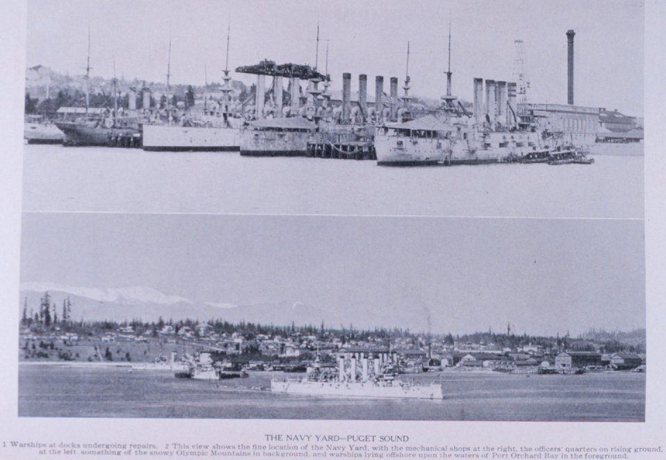 'The Navy Yard - Puget Sound'. In:  'Puget Sound and Western Washington  Cities-Towns Scenery', by Robert A. Reid, Robert A. Reid Publisher, Seattle, 1912.  P. 142.