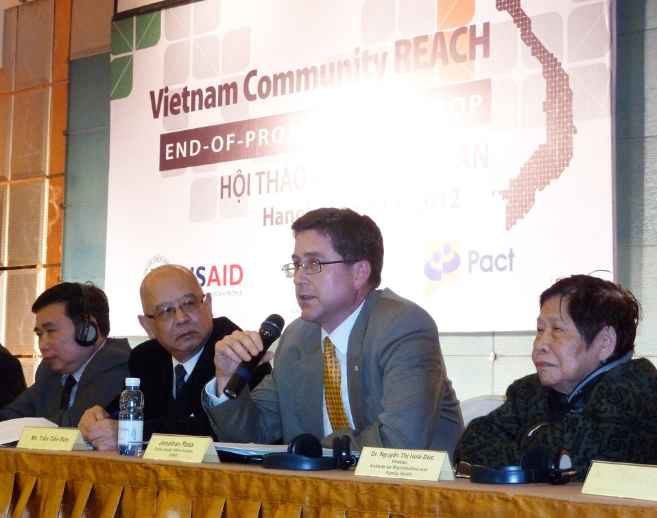 USAID Office of Heath Director Jonathan Ross joins a panel discussion on civil society response to HIV at the Community REACH project workshop