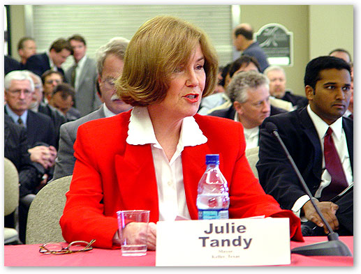 Keller, Texas, Mayor Ms. Julie Tandy testifying at FCC Open Commission Meeting, Keller, Texas.