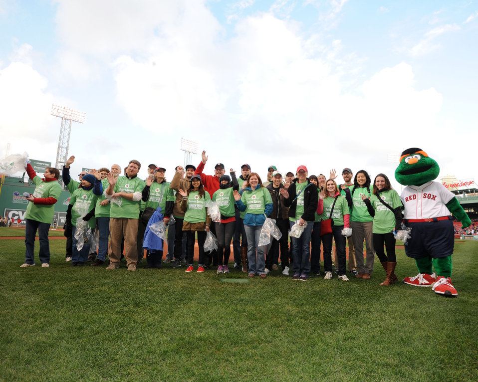"April 22, 2013 - EPA employees on the Red Sox field  volunteering for the Fenway Park/Red Sox ""Green Team"""