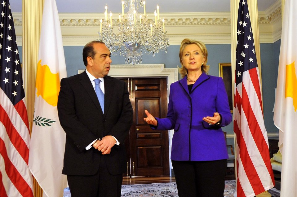 Secretary Clinton With Foreign Minister Kyprianou of Cyprus