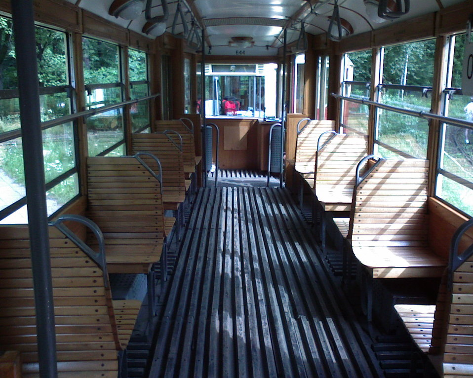 Inside view of the Konstal 5ND tram (#644) on the '0' line in Łódź, Poland.