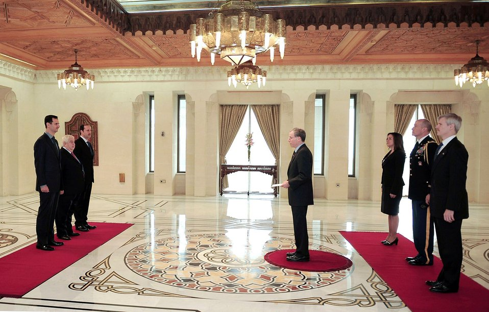 Ambassador Ford Presents His Credentials to Syrian President Assad