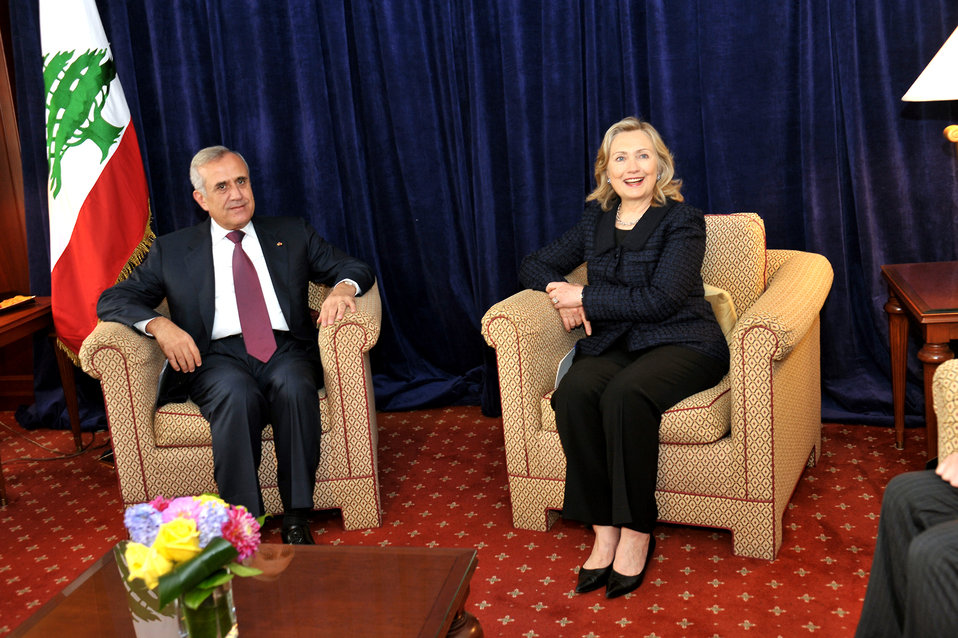 Secretary Clinton Holds a Bilateral With Lebanese President Sleiman