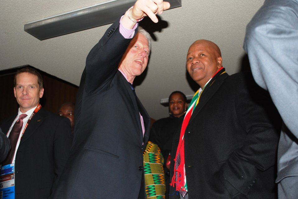 Former Pres. Bill Clinton Speaks With South African Minister of Justice Radebe