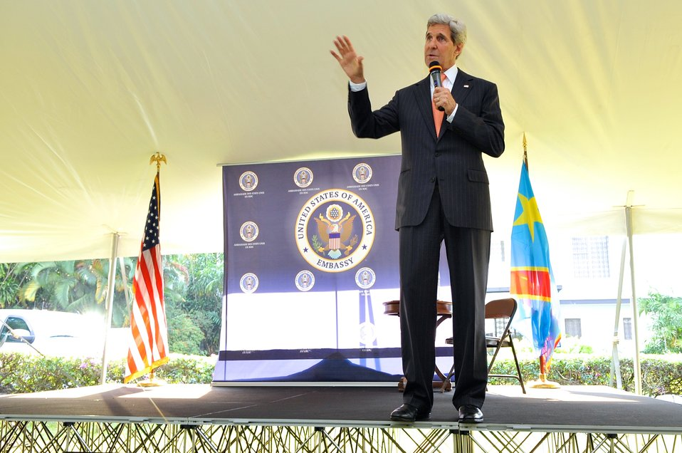 Secretary Kerry Addresses Members of Embassy Kinshasa