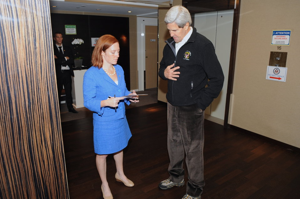 Secretary Kerry Chats With State Department Spokesperson Psaki