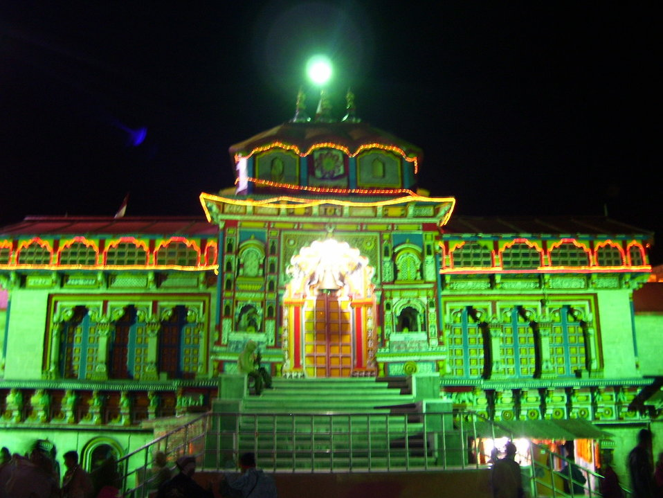 Entrance of Badrinath Temple at night.