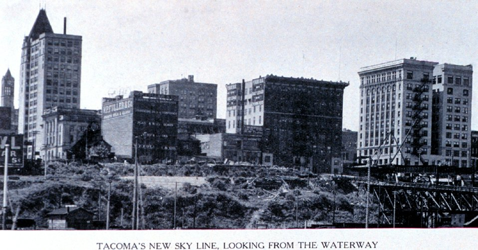 'Tacoma's New Skyline, Looking from the Waterway'. In:  'Puget Sound and Western Washington  Cities-Towns Scenery', by Robert A. Reid, Robert A. Reid Publisher, Seattle, 1912.  P. 37.